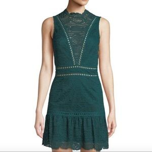 Saylor Rosemary Lace Open-back Dress Emerald